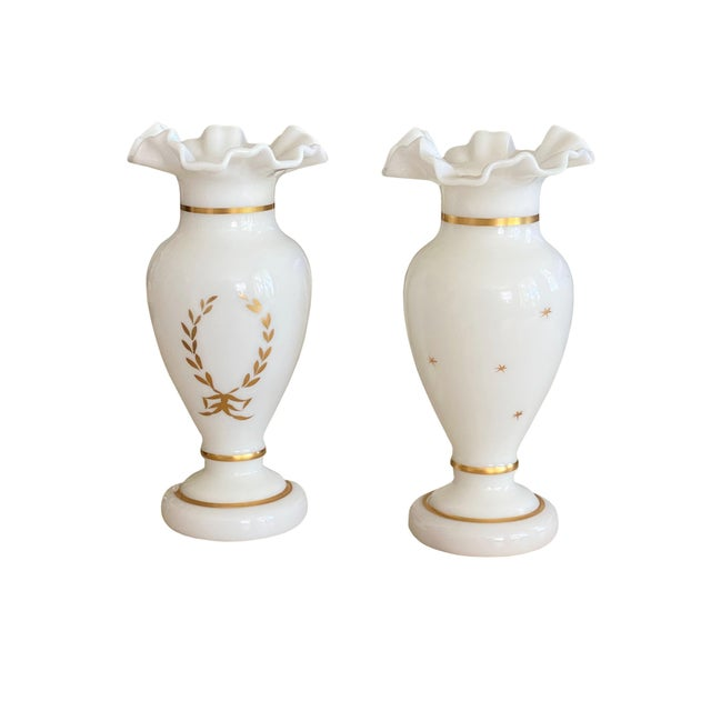 French Antique White and Gilt Opaline Vases - a Pair For Sale - Image 3 of 8
