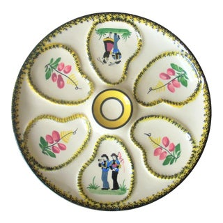 1960s Quimper Oyster Plate For Sale