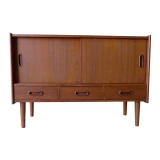 Mid-Century-Style Teak Media Credenza For Sale