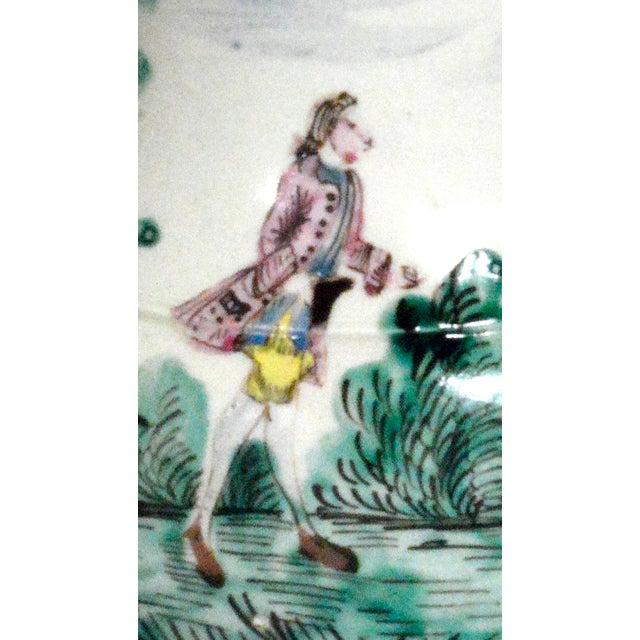Antique English Saltglaze Cider Jug with Figural Polychrome Decoration, Mid-18th Century. For Sale - Image 5 of 11