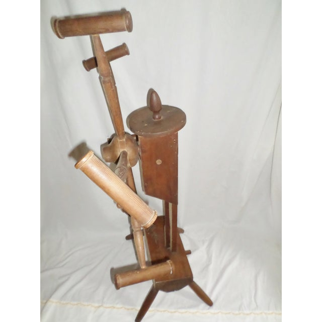American Antique Primitive Wooden Yarn Winder Spinning Wheel For Sale - Image 3 of 11
