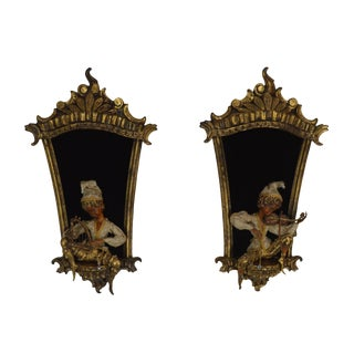 1960's Italian Rococo Pair Gilt Frames With Pixies Playing Instruments For Sale