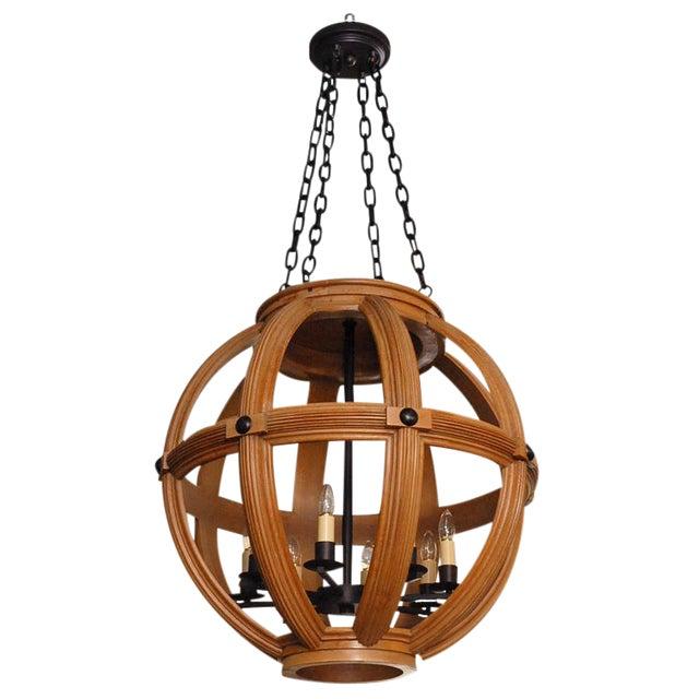 Paul Marra Carved Oak Sphere Chandelier For Sale