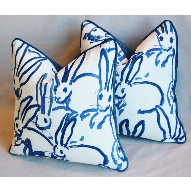 "Blue Designer Groundworks Bunny Hutch Feather/Down Pillows 17"" Square - Pair For Sale - Image 8 of 13"
