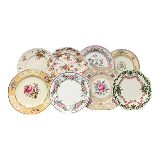 Vintage Cottage Chic Blended Salad/Dessert Plates - Set of 8 For Sale