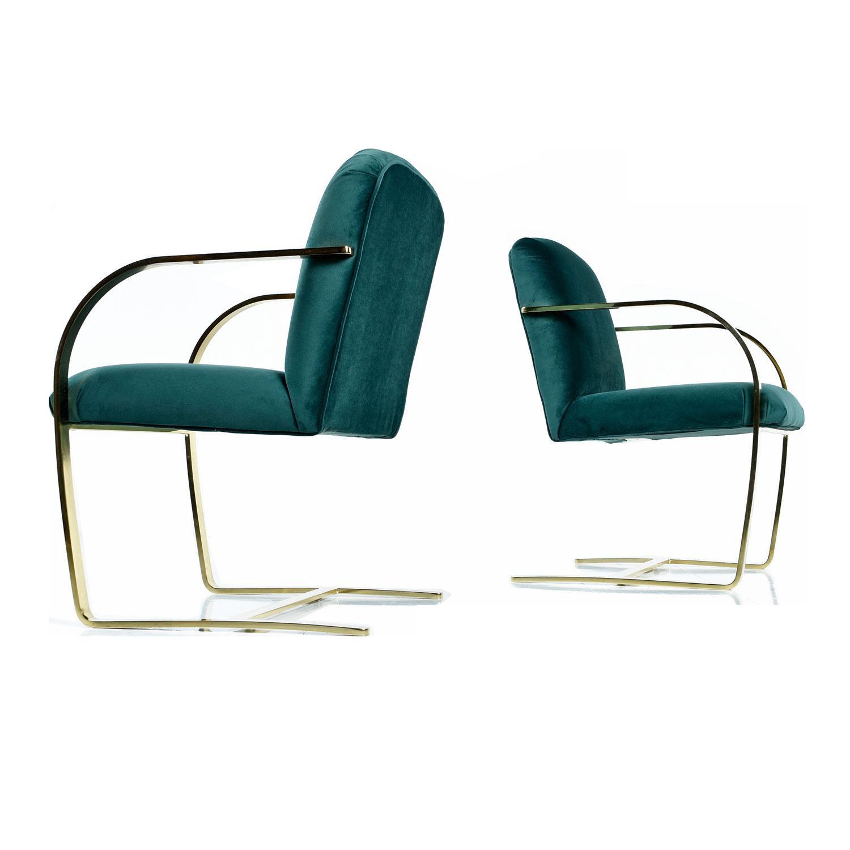 Forest Green Flat Bar Velvet Cantilever Brass Armchair Set Of 2