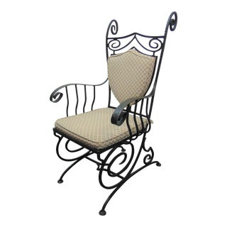 Hammered Iron Upholstered Armchair For Sale