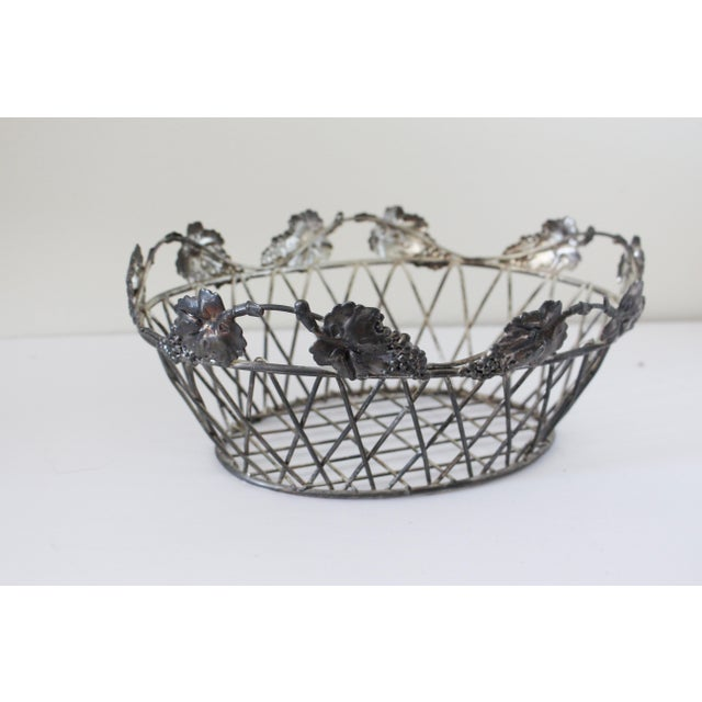 Boho Chic Vintage Wire Basket For Sale - Image 3 of 4