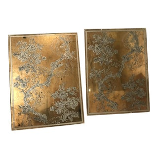 Verre Eglomise Mirror Panels - A Pair