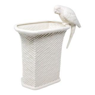 Fitz & Floyd Vintage Parakeet and Bamboo Motif Ceramic Vase For Sale