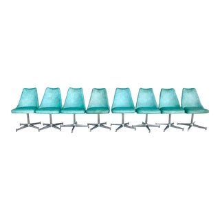 Vintage 1950's Vinyl and Chrome Dining Chairs- Set of 8 For Sale