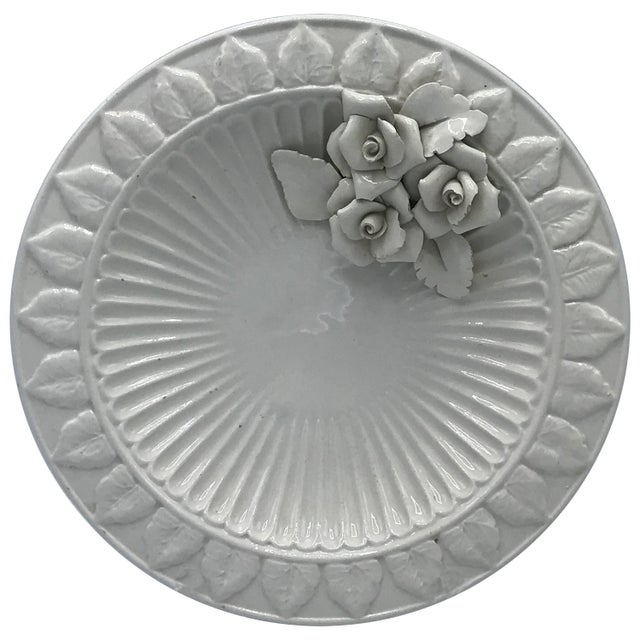 1970s Italian Ceramic Plate With Floral Motif Sculpture For Sale - Image 9 of 9