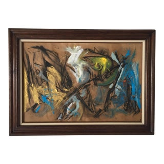 Birds in Paradise 32 X 44 Painting/Drawing on Paper by Erik Sulander Framed Excellent For Sale