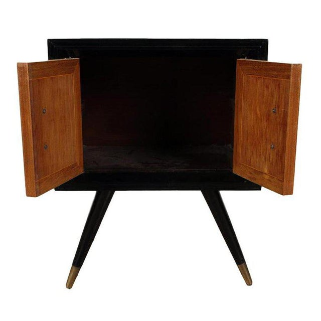 T.H. Robsjohn Gibbings 1950s Mid-Century Modern Ebonized Wood and Parchment Side Cabinets - a Pair For Sale - Image 4 of 5