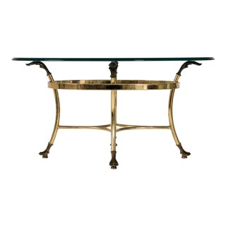 Petite Brass & Glass Table For Sale