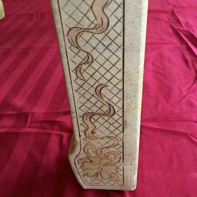 1980's Chinoiserie Custom John Widdicomb Mario Buatta Incised Phoenix Lamp Table For Sale - Image 10 of 12