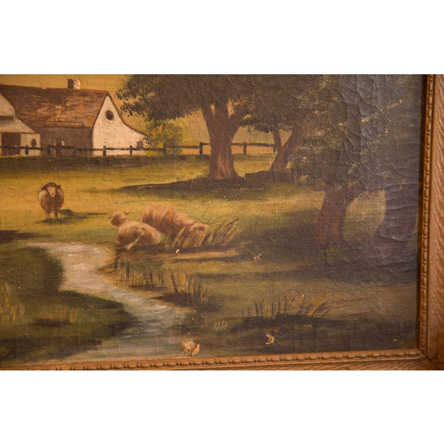 1900 - 1909 Sheep Grazing Antique Painting For Sale - Image 5 of 11