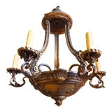 Image of French Iron and Carved Wood Chandelier For Sale