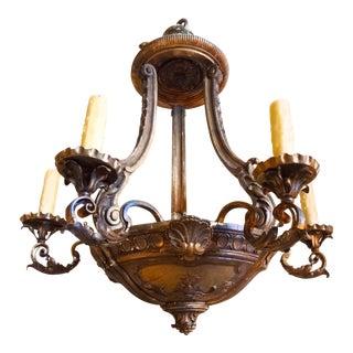 French Iron and Carved Wood Chandelier For Sale