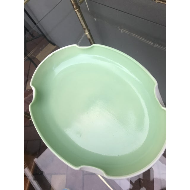 Vintage Mid-Century Mint Green Ceramic Quatrefoil Tray or Dish For Sale - Image 10 of 13