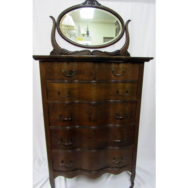 Traditional 1900s Traditional Oak Highboy Dresser With Mirror For Sale - Image 3 of 12
