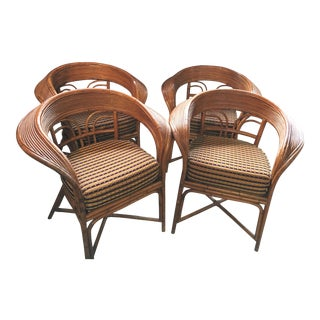 Vintage McGuire Style Rattan Club Chairs - Set of 4 For Sale