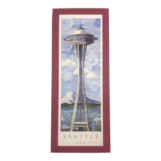 Seattle Space Needle Artist Signed/Matted Print For Sale