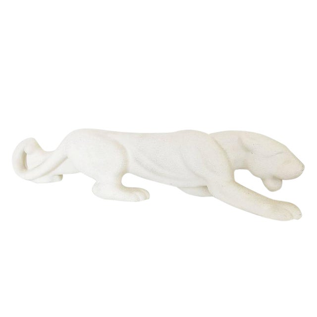 Mid-Century White Panther Art Pottery Statue by Haeger - Image 1 of 6