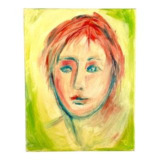 1980s Original Lime & Orange Portrait Painting For Sale