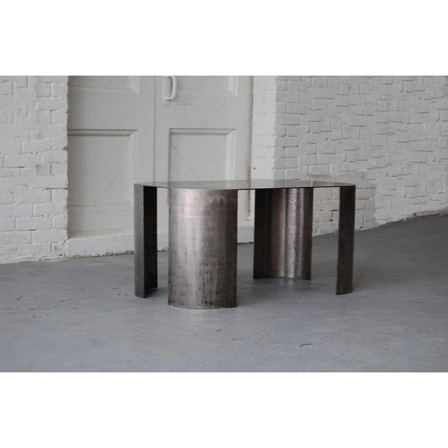 "Custom order steel cocktail / coffee table by Luten Clarey Stern, circa 1987. ""Andrew"" cocktail table. Finish: Old Iron,..."