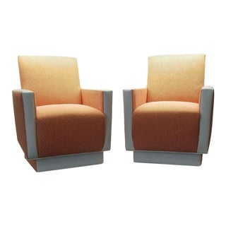 Custom Sherbet & Leather Chairs- a Pair