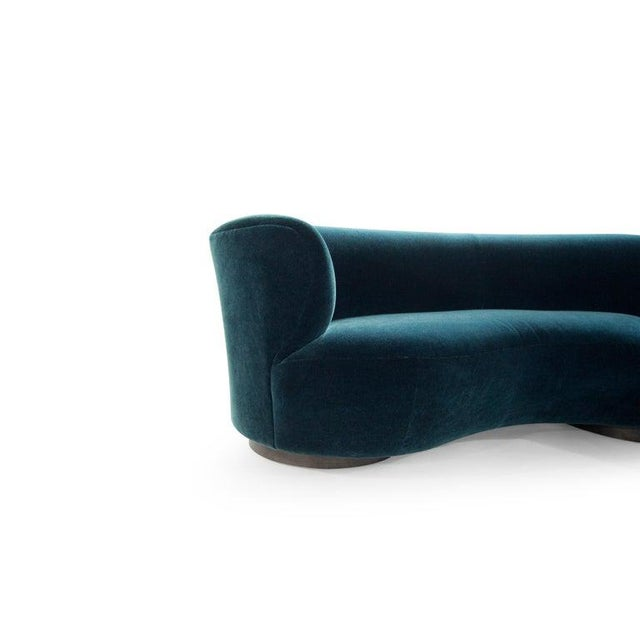 Wood Vladimir Kagan for Directional Sectional in Teal Mohair, Circa 1970s For Sale - Image 7 of 12