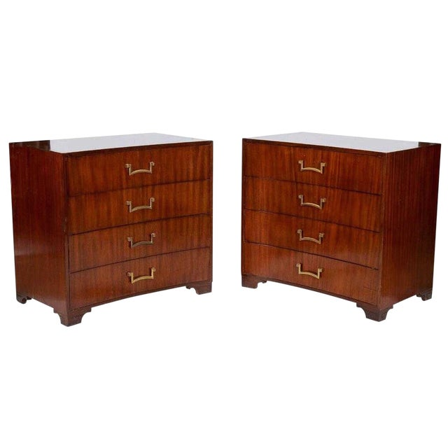 Pair of Modern Concave Mahogany Chests Att. To Parzinger For Sale