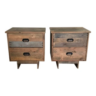 Reclaimed Wood Nightstands - a Pair For Sale
