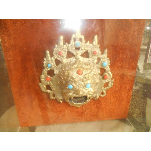 1970s Greg Copeland Bronze Jeweled Mask Sculpture - Image 4 of 5
