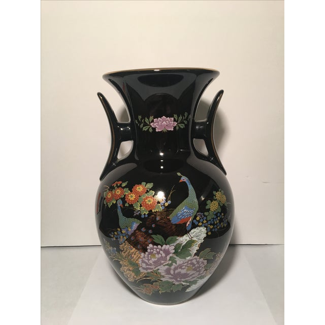 Black Chinoiserie Vase With Peacock Motif - Image 2 of 7