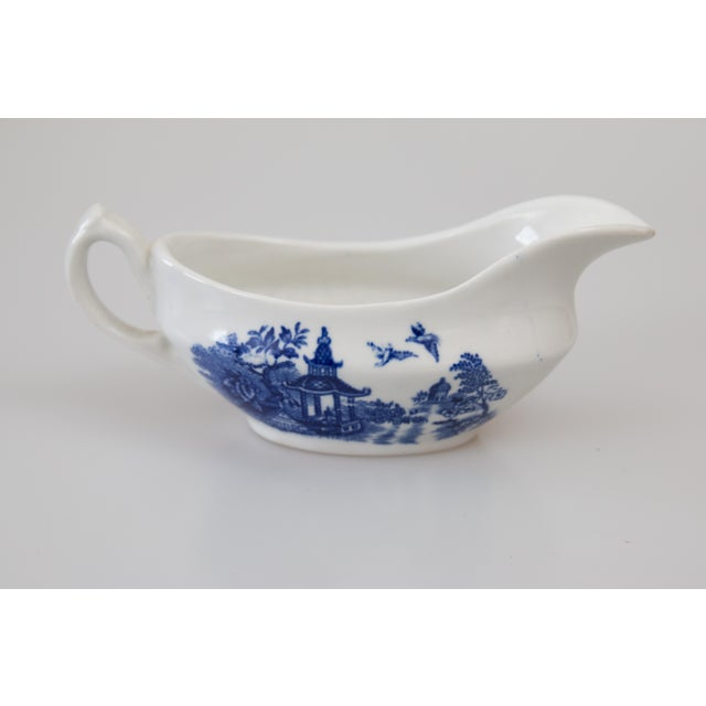 Blue Antique English Blue & White Sauce Pitcher For Sale - Image 8 of 8