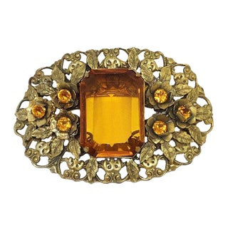 1930s Large Topaz Glass Brooch, 1930s Jewelry, Ornate Brooch, Gifts for Her For Sale