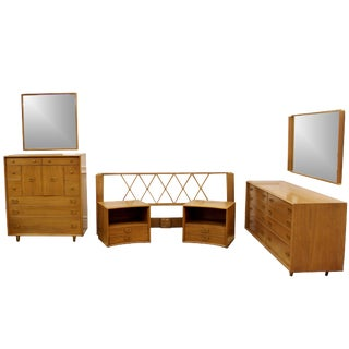 Mid-Century Modern Paul Frankl Satin Birch Emissary Complete Bedroom Set For Sale