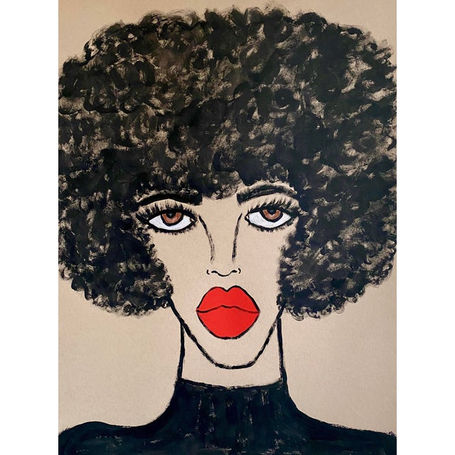 Contemporary Red Lips Painting For Sale
