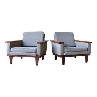 Angular Danish Lounge Chairs - A Pair