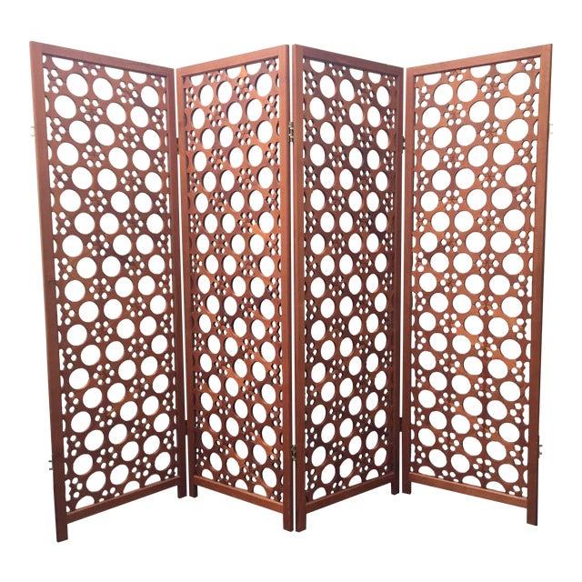 e6f0e914242c0 Large Vintage McGuire 4-Panel Teak Screen Room Divider For Sale