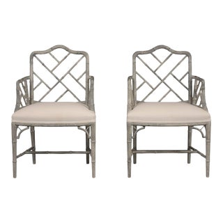 Pair of 1960's Carved Bamboo Wood Design Armchairs For Sale