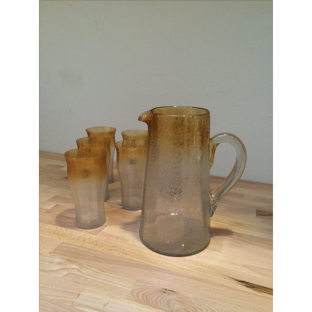 Mid-Century Crackle Glass Pitcher & Six Glasses For Sale - Image 4 of 8