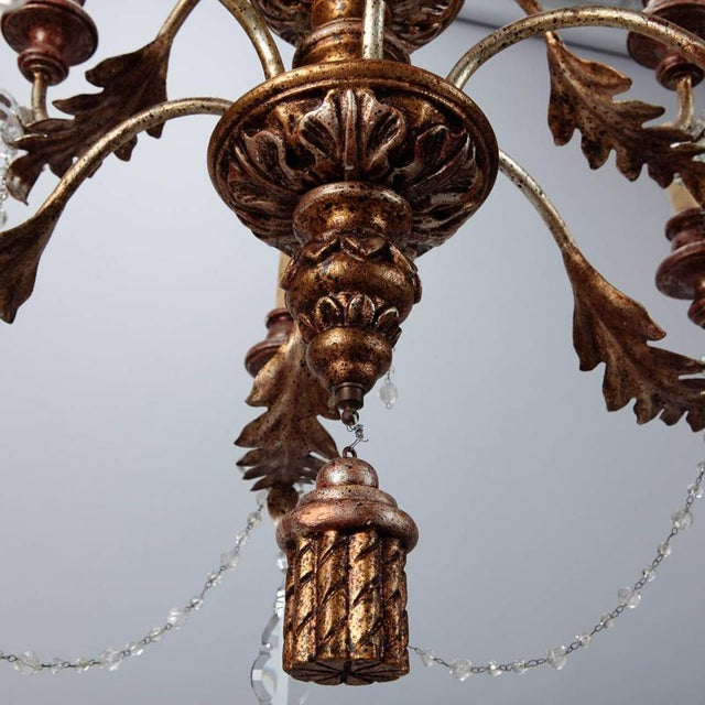 Gold 19th Century French Twelve Light Gild Wood and Crystal Chandelier For Sale - Image 8 of 8