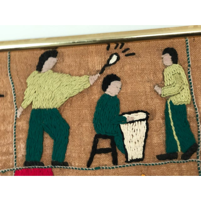 Mid-Century Embroidered Tapestry of Musicians For Sale - Image 9 of 13