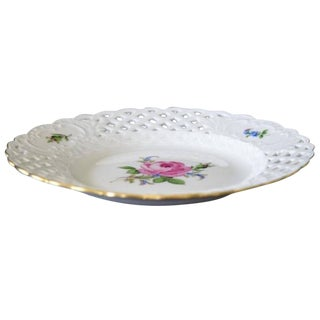 Meissen Reticulated Pink Rose Porcelain Plate
