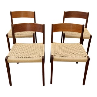 Set of 4 Danish Teak Cord Seat Dining Chairs For Sale