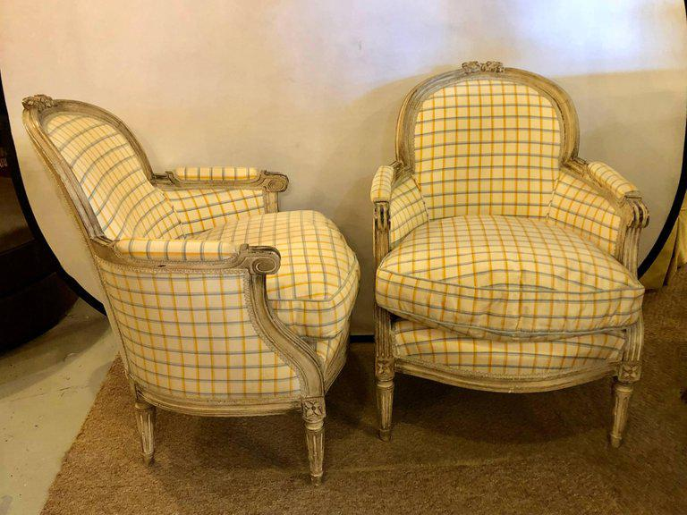 Maison Jansen Louis XVI Style Bergere Chairs In Burberry Fashion Fabric   A  Pair For Sale