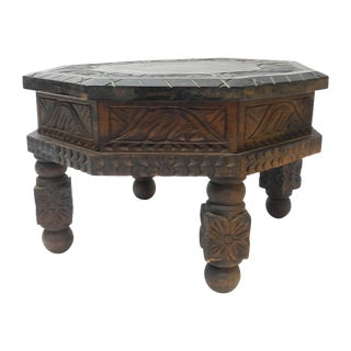 Hand Carved Mexican Drum End Table For Sale